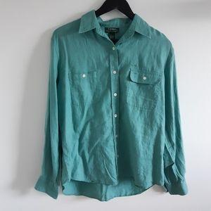 RALPH LAUREN 100% Linen Casual Button Down Shirt